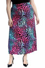 New Womens Plus Size Skirt Ladies Neon Animal Leopard Print Elastic Waist Long