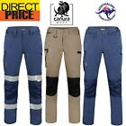 Canura Mens Cargo Work Pants Flexible Durable Cotton 8 Pockets Elastic side NEW