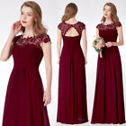 Ever-Pretty CN Burgundy Lace Cap Sleevees Bridesmaid Dresses Evening Gowns 09993