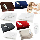'Electric Heated Throw Over Under Blanket Fleece Washable Polyester Warm Mattress