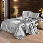 4Pcs Luxury Satin Charmeuse Sheet Set Queen King Soft Silk Feel Bedding Cover image