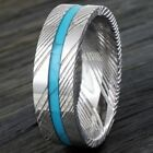 8mm Men's Damascus Steel & Turquoise Stripe Domed Wedding Band Ring Size 9-13