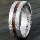 8mm Men's Damascus Steel & Wood Stripe Domed Wedding Band Ring Size 9-13