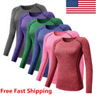 Women Girl Athletic Sports Compression T-Shirt Long Sleeve J