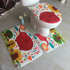 1Set Bathroom Non-Slip Pedestal Rug + Lid Toilet Cover + Bath Mat Fashionable