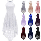 Women's Halter Maxi Lace Dress Hi-Lo Hemline Wedding Bridesm