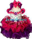 stunning Infant/toddler/kids/baby Pageant/prom/formal rhinestone beaded Dress