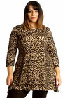 New Womens Plus Size Top Ladies Leopard Animal Print Tunic Swing Skater Style