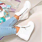 WOMENS ANKLE BOOTS WEDGE SNEAKERS Trainers  PLATFORM SHOES HIGH TOP FREE P&P