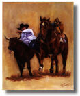 RodeoCowboy Bulldogging Steer On Horse By Carolyn Cheney Wall Art Print Picture