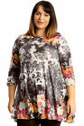 New Womens Top Plus Size Ladies Floral Print Orange Swing Tunic Tie Dye Abstract