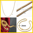 24k 24ct Yellow Gold Filled Snake Chain Necklace Men Women 16-24inch 1mm 2mm 3mm