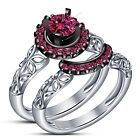 White Gold Over Round 0.94 CT. Pink Sapphire in Prong Setting Bridal Ring Set