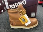 """Rhino 62T06 Mens Leather Butternut 6"""" Soft Toe Moc Toe Lace Up Work Boots"""