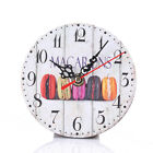 US DIY Vintage Rustic Wooden Wall Clock Antique Shabby Retro Home Kitchen Decor