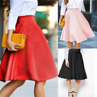 Womens Vintage High Waist Stretch Skater Flared Pleated Swing Long Skirt Dress