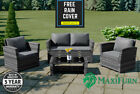 Rattan 9 8 7 Seater Outdoor Corner Sofa Dining Table Set Garden Furniture Grey