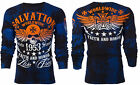ARCHAIC by AFFLICTION Mens LONG SLEEVE THERMAL Shirt BLACK TIDE Skull UFC $58 c