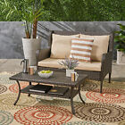 Duncan Outdoor Wicker Loveseat and Coffee Table