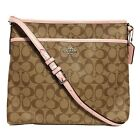 NWT COACH File Bag Crossbody Shoulder Signature Leather Messenger Pink White