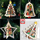 3D Xmas Tree Pendants Hanging Wooden Christmas Decoration Home Party Decor Gift