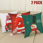 Pack 2pc Christmas Cotton Pillow Case 18'' Cushion Cover Santa Xmas Tree Festive image