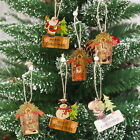 Xmas Tree Pendants Hanging Wooden Christmas Decoration Home Party Table Deco KUS