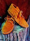 Soft Suede Moccasins low boot Western Indian Saddle fringe Pawnee Mens all sizes