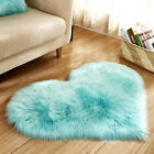 70X90cm Heart Faux Wool Area Rug Home Office Chair Cover Fluffy Carpet Floor Mat