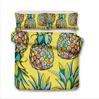 Single Double Twin Full Queen King Bed Pillowcase Quilt Cover LRau Pineapple wcl