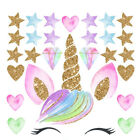 UK Creative Unicorn Stars Wall Stickers Girls Bedroom Flowers Decals Decor Cute