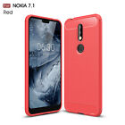 Dooqi Shockproof Armor Carbon Fiber Hybrid Brush Case Cover For Nokia 7.1
