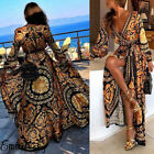 Elegant Women Sexy Long Sleeve Printed Maxi Dress Evening Party Formal Dress New