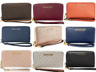 Michael Kors Jet Set Travel Large Phone Wristlet Wallet Leather Pvc Mk Signature