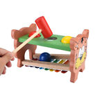 Wooden Baby Musical Xylophone Bench Toy with Balls and Hammer Interactive