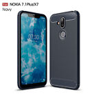 For Nokia 7.1 Plus (Nokia X7) Shockproof Armor Carbon Fiber Hybrid Brush Case