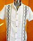 Mexican White Guayabera Casual Shirt Cotton Manta Black Embroidery Buttons Down