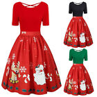 Christmas Dresses For Women Midi Flare Dress Xmas Plus Size Casual Clothes