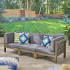 Great Deal Furniture Keith Outdoor Sectional Sofa Set 3-Seater Acacia Wood Wa
