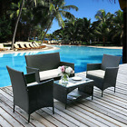 4pc Outdoor Wicker Patio Set Sectional Cushioned Furniture Rattan Garden,green