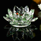 7 Colors Crystal Glass Lotus Flower Candle Tea Light Holder Buddhist Decor