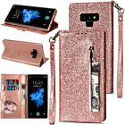 For Samsung Note 9 S9 S8 S7 Bling Zipper Leather Luxury Wallet Stand Case Cover