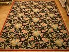 Charming Handmade Rug 9' x 12' Black French wool Flat Weave Nature Desgin Rug