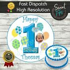 1ST BIRTHDAY BALLONS EDIBLE ROUND BIRTHDAY CAKE TOPPER DECORATION PERSONALISED