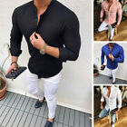Mens Slim Fit V Neck Long Sleeve Muscle Tees T shirt Casual Shirts Tops Blouse