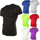 Mens Compression Shirt Short Sleeve Top Base Layer Gym Crew Workout Sportswear