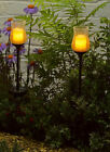 Crackle Glass Solar Stake Garden Lights LED Flickering Candle Lantern Path Light