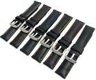Black Padded Alligator Grain Watch Strap Quick-Release Pins Coloured Stitching