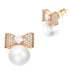 Buyless Fashion Girls Bow Pearl Stud Earrings Surgical Stainless Steel Gift Box