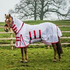 Derby House Classic Unisex Horse Rug Fly - White Red All Sizes